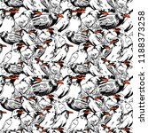 seamless pattern with crows.... | Shutterstock .eps vector #1188373258