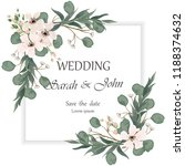 wedding invitation leaves and... | Shutterstock .eps vector #1188374632