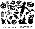 halloween monochrome stickers... | Shutterstock .eps vector #1188378295