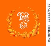 fall yellow leaves decoration.... | Shutterstock .eps vector #1188379792
