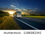white bus arriving on the... | Shutterstock . vector #1188382342