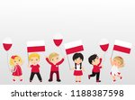 polish children with flags and... | Shutterstock .eps vector #1188387598
