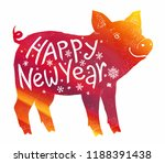 red fiery pig vector silhouette ... | Shutterstock .eps vector #1188391438