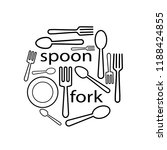 spoon and fork icon one line...   Shutterstock .eps vector #1188424855