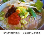 vietnamese noodles soup with... | Shutterstock . vector #1188425455