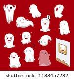 cute ghost cartoon red... | Shutterstock .eps vector #1188457282