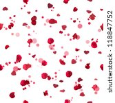 Stock photo repeatable flying red studio photographed rose petals in backl ight with glittering hearts from 118847752
