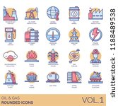 oil and gas rounded icon set.... | Shutterstock .eps vector #1188489538