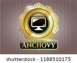 gold badge with monitor icon... | Shutterstock .eps vector #1188510175