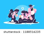 friends eating snack taking...   Shutterstock .eps vector #1188516235