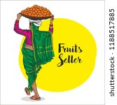 lady fruits seller in india... | Shutterstock .eps vector #1188517885