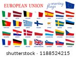 european union waving flags... | Shutterstock .eps vector #1188524215