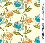 seamless rose flower pattern   Shutterstock .eps vector #1188535012