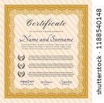 orange certificate template.... | Shutterstock .eps vector #1188540148