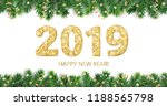 banner with 2019 golden glitter ... | Shutterstock .eps vector #1188565798