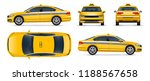 Stock vector taxi car vector sedan isolated on white background side top front back view for vehicle 1188567658