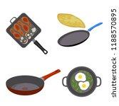 griddle pan icon set. flat set... | Shutterstock .eps vector #1188570895