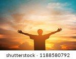 human hands open palm up... | Shutterstock . vector #1188580792