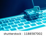 security lock on a computer...   Shutterstock . vector #1188587002