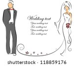 silhouette of bride and groom ... | Shutterstock .eps vector #118859176