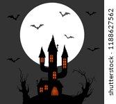 dark castle in front of full...   Shutterstock .eps vector #1188627562