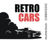fast retro car in smoke and... | Shutterstock .eps vector #1188653242
