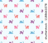 pattern with colorful cute cats | Shutterstock .eps vector #1188661078