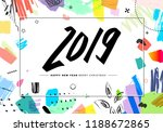 2019 merry christmas and happy... | Shutterstock .eps vector #1188672865