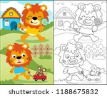 coloring book with funny... | Shutterstock .eps vector #1188675832