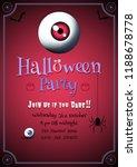 engraving spooky eyeball on red ... | Shutterstock .eps vector #1188678778
