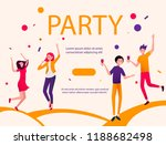 party poster with happy dancing ... | Shutterstock .eps vector #1188682498