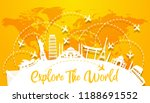 explore the world with famous... | Shutterstock .eps vector #1188691552