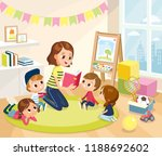 children in a kinder garden.... | Shutterstock .eps vector #1188692602