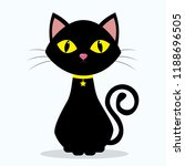 Stock photo black cat with yellow eyes on the neck of a medallion in the shape of a star on a yellow ribbon 1188696505