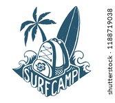 vector lettering surf camp logo ... | Shutterstock .eps vector #1188719038