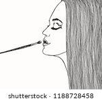 young beautiful girl applies...   Shutterstock .eps vector #1188728458
