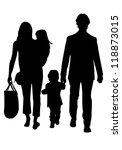 family silhouettes   Shutterstock .eps vector #118873015