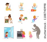 kids in a dangerous situations... | Shutterstock .eps vector #1188740998