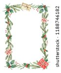 watercolor christmas frame with ... | Shutterstock . vector #1188746182