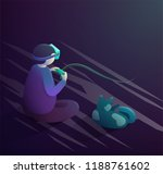 vr headset concept. boy and cat ... | Shutterstock . vector #1188761602