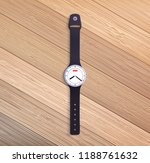 watch on wooden table.  | Shutterstock . vector #1188761632