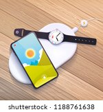 wireless charging pad with... | Shutterstock . vector #1188761638