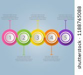 five  multicolored round... | Shutterstock .eps vector #1188765088