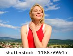 girl pleased with warm sunlight ... | Shutterstock . vector #1188769645