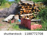 pile of tree trunks cut in... | Shutterstock . vector #1188772708