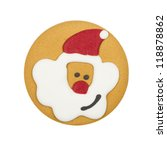 Gingerbread biscuit with Father Christmas icing decoration isolated on a white background. Close up. - stock photo