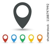 map pin icon set flat design | Shutterstock .eps vector #1188797992