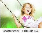 little child blond girl having... | Shutterstock . vector #1188805762