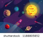 sun with planets and comets.... | Shutterstock .eps vector #1188805852
