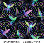 flying hummingbirds on dark... | Shutterstock .eps vector #1188807445